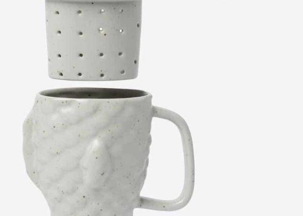 Taza infusora de té Taiyaki (blanco crema)