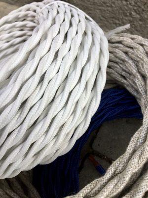 Cable tèxtil trenat (blanc)