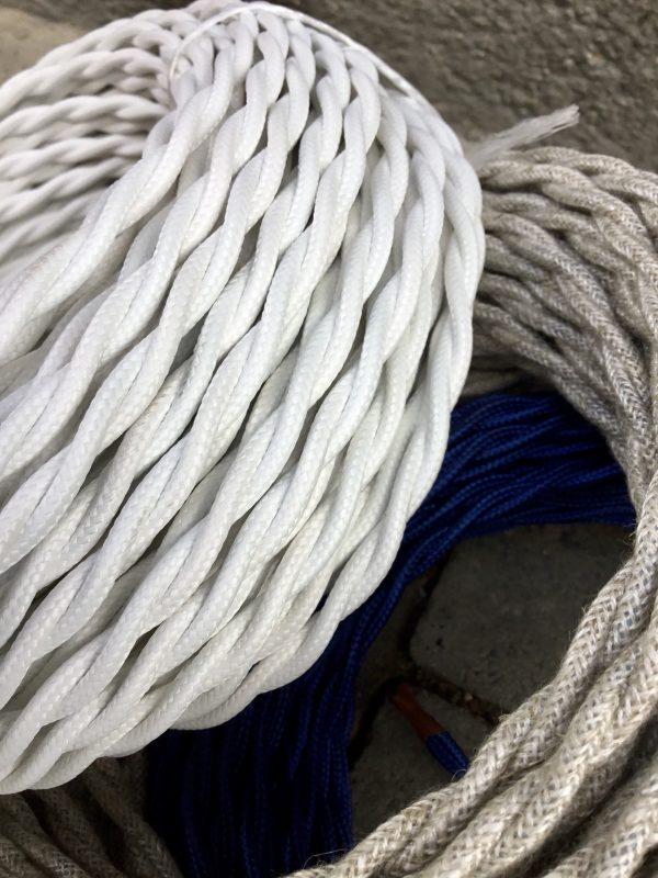 Cable textil trenzado (blanco)
