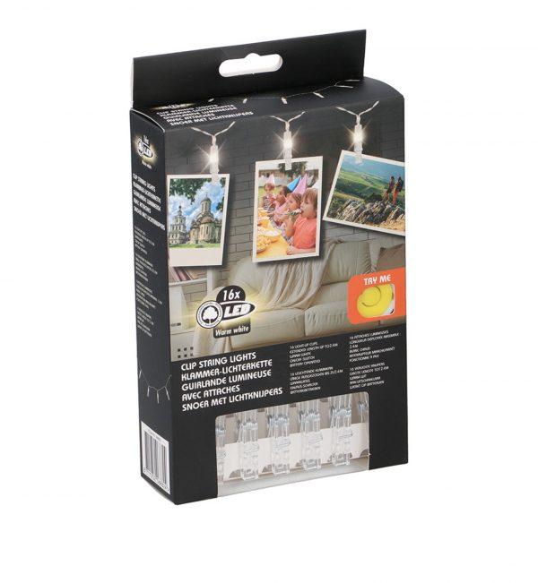 Guirnalda 16 LEDS con pinzas sujetafotos