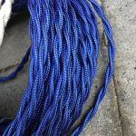 Cable textil trenzado (azul seda)