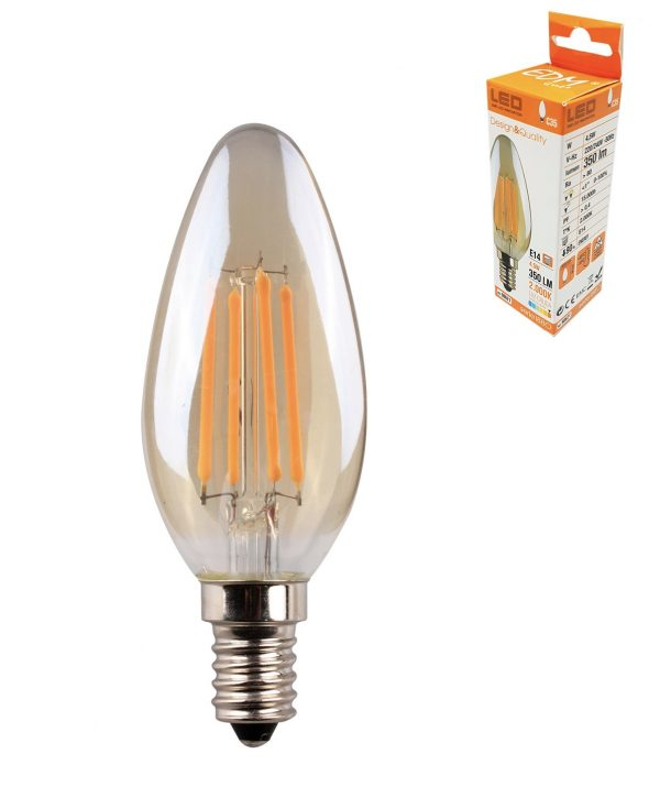 Bombilla vela con filamento LED E14