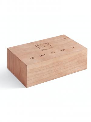 Rellotge-despertador Flip Click Clock (fusta de cirerer)