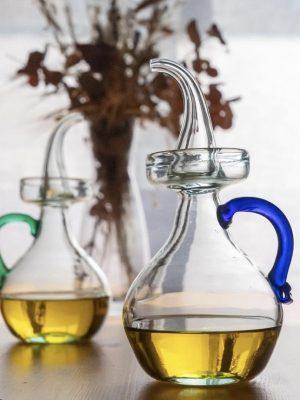 Aceitera de vidrio Clásica (asa en varios colores)