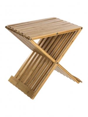 Cadira plegable de bambú para al bany