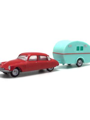 Miniatura escala H0 Citroën DS 19 con caravana. ¡Próximo en llegar!
